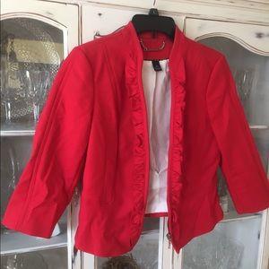 White House Black Market Red 3/4 Sleeve Jacket